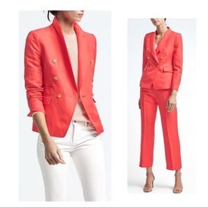 Coral Double Breasted Linen Blend Blazer Size 10